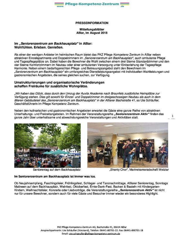 Mitteilungsblätter Aßlar, im August 2018